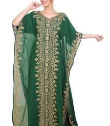 Green Aari Stone Work Georgette Islamic Style Beads Embedded Partywear Kaftan Long Gown Evening wear Dubai kaftan