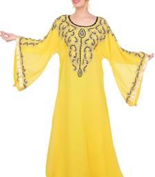 Yellow Aari Work Georgette Islamic Style Beads Embedded Partywear Kaftan Long Gown Evening wear Dubai kaftan