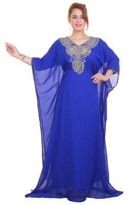 Blue Zari Stone Work Georgette Islamic Style Beads Embedded Partywear Kaftan Long Gown Evening wear Dubai kaftan
