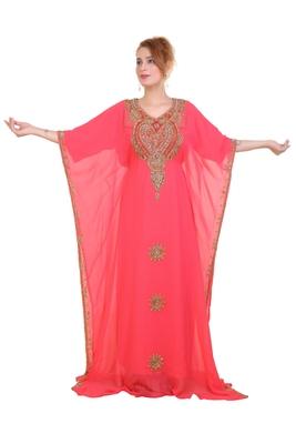 Peach Zari Stone Work Georgette Islamic Style Beads Embedded Partywear Kaftan Long Gown Evening wear Dubai kaftan