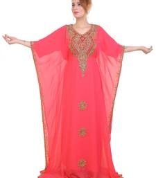 Peach Zari Stone Work Georgette Islamic Style Beads Embedded Partywear Kaftan Long Gown Evening wear Dubai kaftan