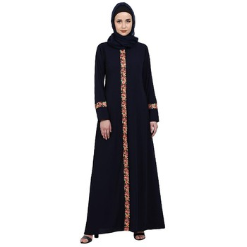 Elegant front open abaya with embroidery work- Navy Blue
