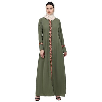 Elegant front open abaya with embroidery work- Jade Green