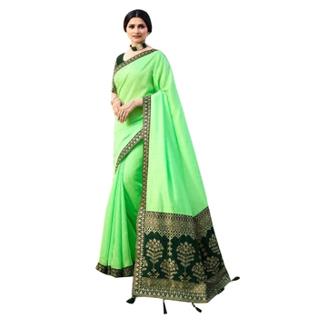 Light green plain jacquard saree with blouse