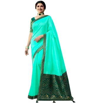 Sea green plain jacquard saree with blouse