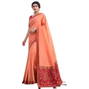 Peach plain jacquard saree with blouse
