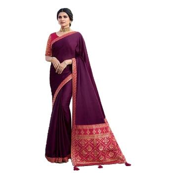 Purple plain jacquard saree with blouse