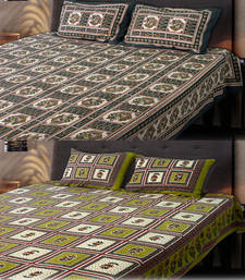 Buy Set of 2 Sanganeri Printed Cotton Double Bedsheet with 2 Pillow Cover bed-sheet online