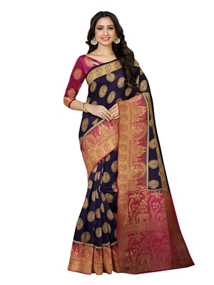 Mimosa Kanjivaram Style Art Silk Saree Color :  Navy Blue