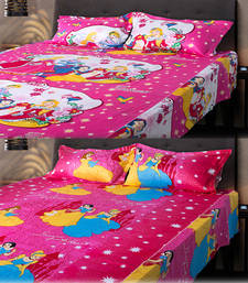 Buy Set of 2 Beautiful Princess Kids Double Bedsheet with 2 Pillow Cover bed-sheet online