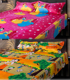 Buy Set of Chota Bheem and Beautiful Princess Kids Double Bedsheet with 2 Pillow Cover bed-sheet online