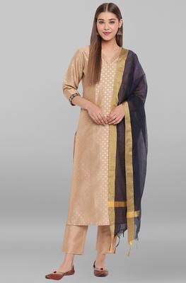 Beige golden print faux silk salwar