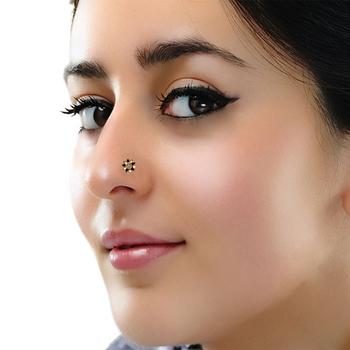 Designer meenakari black diamond floral nose ring or nose pin