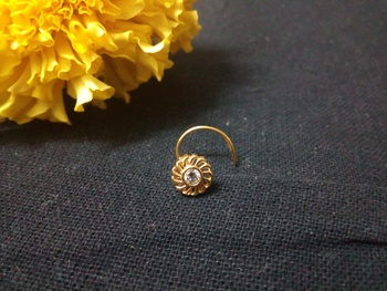 Designer Golden Diamond Floral nose ring or Nose Pin
