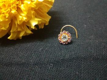 Designer Purple Diamond Floral nose ring or Nose Pin