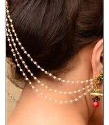 Designer 3 Line Pearl Earchain or Ear Support Earrings