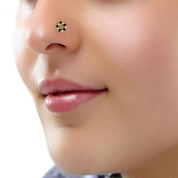 Designer Black Diamond Floral nose ring or Nose Pin