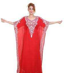 Red Aari  Stone Work Georgette Islamic Style Beads Embedded Partywear Kaftan Long Gown Evening wear Dubai kaftan