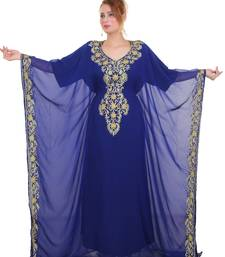 Royal blue Aari Stone Work Georgette Islamic Style Beads Embedded Partywear Kaftan Long Gown Evening wear Dubai kaftan