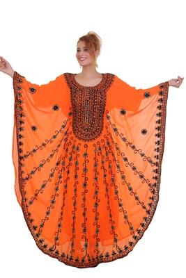 Orange Aarii Stone Work Georgette Islamic Style Beads Embedded Partywear Kaftan Long Gown Evening wear Dubai kaftan