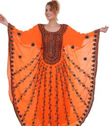 Orange Aarii Stone Work Georgette Islamic Style Beads Embedded Partywear Kaftan Long Gown Evening wear Dubai kaftan