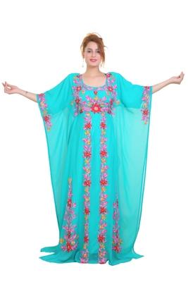 Sea Green Aari  Stone Work Georgette Islamic Style Beads Embedded Partywear Kaftan Long Gown Evening wear Dubai kaftan