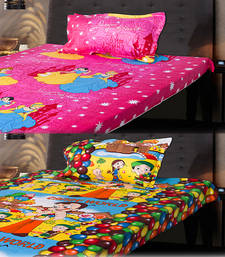 Buy Set of Beautiful Princess and Chota Bheem Kids Single Bedsheet with 1 Pillow Cover bed-sheet online