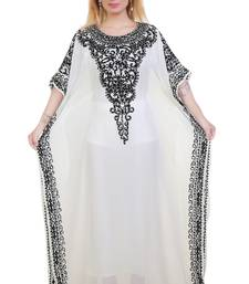 White Ari Work Georgette Islamic Style Stone Embedded Partywear Kaftan Long Gown Evening wear Dubai kaftan