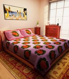 Buy Rose Design Red Jaipuri Print Cotton Double Bedsheet with 2 Pillow Cover bed-sheet online