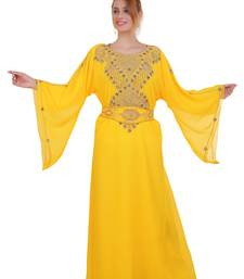 Yellow Zari Stone Work Georgette Islamic Style Beads Embedded Partywear Kaftan Long Gown Evening wear Dubai kaftan
