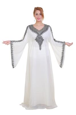 White Zari Stone Work Georgette Islamic Style Beads Embedded Partywear Kaftan Long Gown Evening wear Dubai kaftan