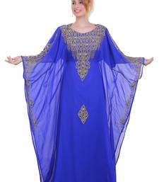 Royal Blue Zari Stone Work Georgette Islamic Style Beads Embedded Partywear Kaftan Long Gown Evening wear Dubai kaftan