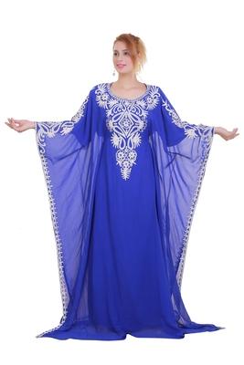 Royal Blue Aari Stone Work Georgette Islamic Style Beads Embedded Partywear Kaftan Long Gown Evening wear Dubai kaftan