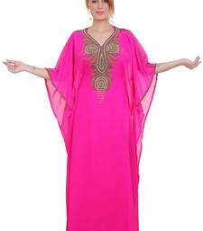 Rani Pink Zari Stone Work Georgette Islamic Style Beads Embedded Partywear Kaftan Long Gown Evening wear Dubai kaftan