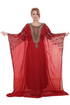 Red Zari Stone Work Georgette Islamic Style Beads Embedded Partywear Kaftan Long Gown Evening wear Dubai kaftan
