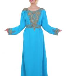 Blue/ferozi Zari Stone Work Georgette Islamic Style Beads Embedded Partywear Kaftan Long Gown Evening wear Dubai kaftan