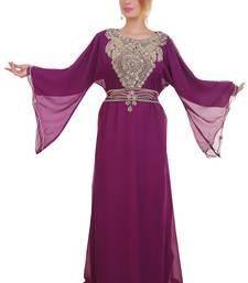 Wine Zari Stone Work Georgette Islamic Style Beads Embedded Partywear Kaftan Long Gown Evening wear Dubai kaftan