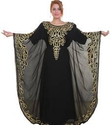 Black Aari Stone Work Georgette Islamic Style Beads Embedded Partywear Kaftan Long Gown Evening wear Dubai kaftan