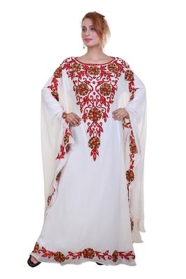 White Ari Work Georgette Islamic Style Stone Embedded Partywear Kaftan Long Gown Evening wear Dubai kaftan