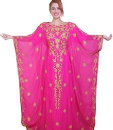 Rani Pink Aari Stone Work Georgette Islamic Style Beads Embedded Partywear Kaftan Long Gown Evening wear Dubai kaftan