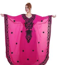 Rani Pink Aari Stone Work Georgette Islamic Style Beads Embedded Partywear Kaftan Long Gown Evening wear Dubai kaftan