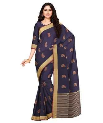 Mimosa Ikat Style Art Silk saree Color: Navy Blue  (5154-441-SD-NVY)