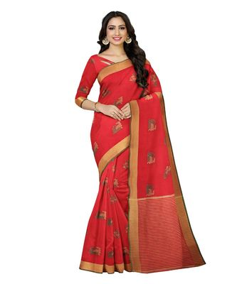 Mimosa Ikat Style Art Silk saree Color: Red  (5157-406-SD-RED)