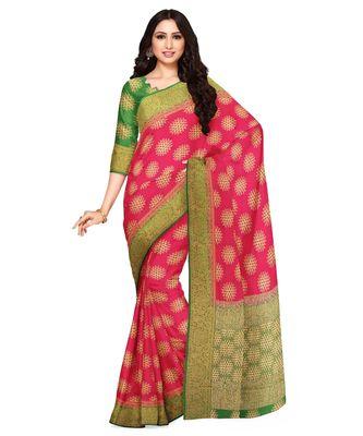 Mimosa Kanjivaram Style Art Silk saree Color: Pink  (4861-2755-2D-ST-GR)