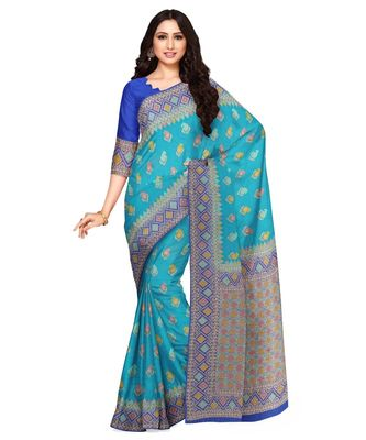 Mimosa Ikat Style Art Silk saree Color: Turquoise Blue  (5004-2741-2D-AN-RB)