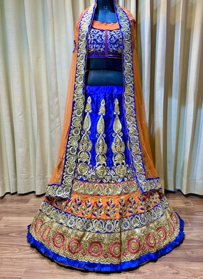 Pure Micro Velvet Wedding Wear Lehenga In Blue With Embroidery And Crystal Stone Work