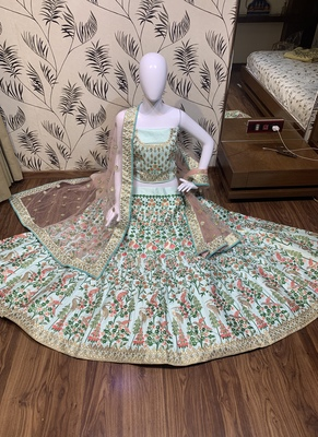 Pure Satin Silk Wedding Wear Lehenga In Light Blue With Embroidery And Crystal Stone Work