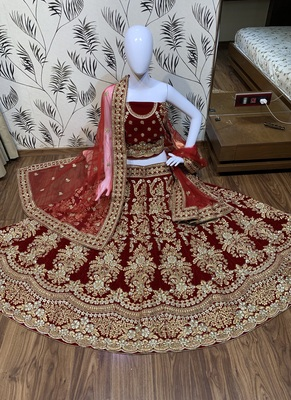 Pure Micro Velvet Wedding Wear Lehenga In Red With Embroidery And Crystal Stone Work