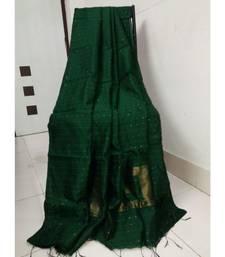 Bottle Green Sequence Work Cotton Silk Handloom Saree With B.P