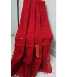 Red Sequence Work Cotton Silk Handloom Saree With B.P